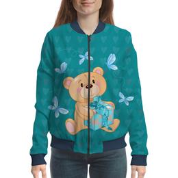 "Бомбер женский ""Подарок"" - бабочка, медведь, мишка, подарок, мишка тедди"