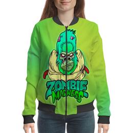 "Бомбер женский ""Zombie Madness"" - арт, zombie, зомби, обезьяна, горилла"