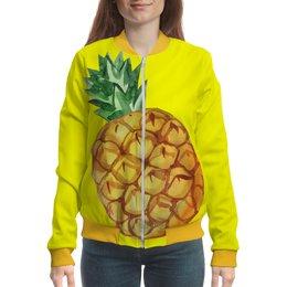 """Бомбер """"Ананас"""" - экзотический, лето, акварель, фрукты, ананас"""