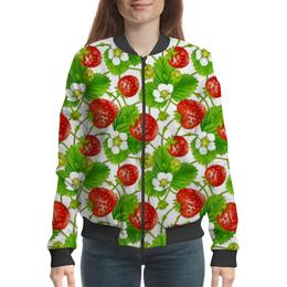 """Бомбер """"Ягодка созрела"""" - лето, цветы, ягоды, клубника"""
