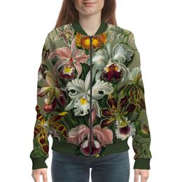 """Бомбер """"Орхидеи для любимой"""" - цветы, 8 марта, подарок, орхидея, эрнст геккель"""