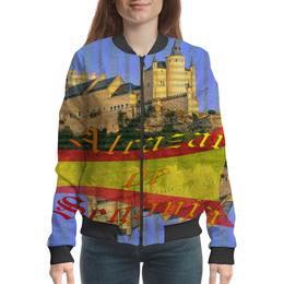 """Бомбер женский """"Средневековой испанский замок Сеговия."""" - голубой, испания, полоски, крепость, испанский флаг"""