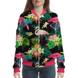 """Бомбер """"Flamingo"""" - жене, пальма, женщине, тропики, фламинго"""