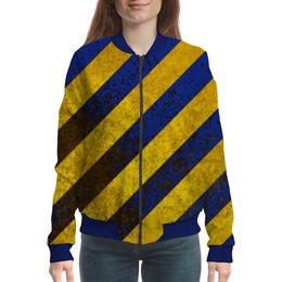 """Бомбер женский """"Полосы"""" - жёлтый, полосы, синий"""