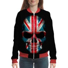 "Бомбер ""SKULLENGL"" - череп, жене, женщине, флаг, великобритания"