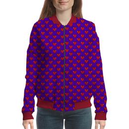 "Бомбер женский ""Сердечки"" - сердца, 14 февраля, подарок, пиксели"