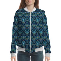 """Бомбер женский """"Орнаментальный узор синий"""" - арт, узор, орнамент, стильный, этнический"""