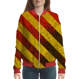 "Бомбер женский ""Полосы 6"" - красный, жёлтый, полосы"