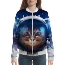 """Бомбер женский """"Котосмонавт"""" - кот, космос, животное, костюм"""