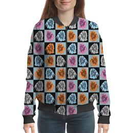 """Бомбер женский """"Коты в клеточку"""" - кот, поп-арт, паттерн, в клеточку, небесно-голубой"""