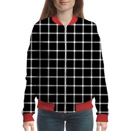 "Бомбер женский ""Чёрная клетка"" - графика, иллюзия, оптика, чёрная клетка"