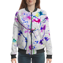 """Бомбер """"Фиолетовое притяжение"""" - цвета, фиолетовый, краски, абстракция, линиии"""