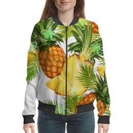 """Бомбер женский """"Ананасы"""" - фрукты, рисунок, тропики, ананасы"""