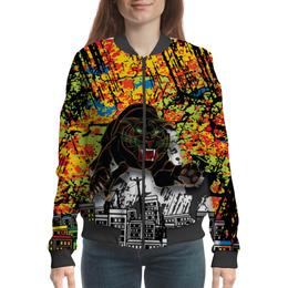 """Бомбер женский """"Черный Тигр"""" - кот, черный, город, тигр, урбанистический"""