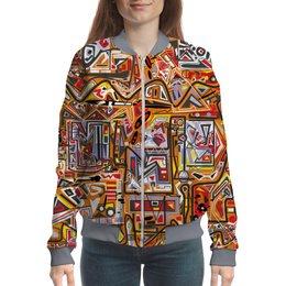 """Бомбер """"Оранжевый дом."""" - арт, узор, абстракция, фигуры, текстура"""