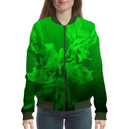 """Бомбер """"Альстромерия. Фантазия"""" - зеленый, цветок, акварелью, нежный, живопись"""