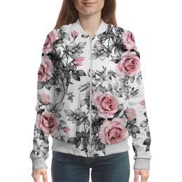 "Бомбер ""Цветы"" - цветы, розы"