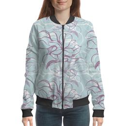 """Бомбер женский """"Fantasy Lily """" - flower, fashion, pattern, line, seamless"""