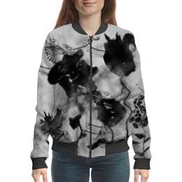 "Бомбер ""Черно-белые цветы. Абстракция"" - цветок, черно-белый, абстракция, оригинальный, фантазия"