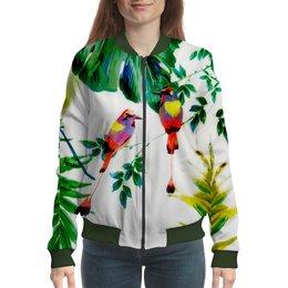 """Бомбер """"попугаи"""" - цветы, листья, яркий, попугай, тропики"""
