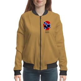 "Бомбер женский ""Флаг конфедерации США"" - череп, америка, флаг, конфедерация, флаг конфедерации"