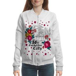 "Бомбер ""Город"" - цветы, город"