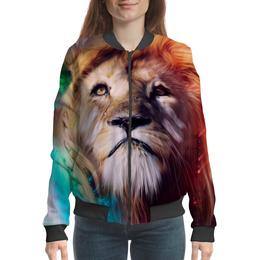 """Бомбер женский """"Царь зверей"""" - лев, краски, царь зверей, грива"""