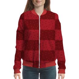 """Бомбер женский """"Красный геометрический узор"""" - красный, тон, горох, прямоугольник, оттенок"""