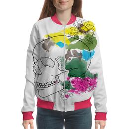 "Бомбер ""Череп Акварель"" - череп, цветы, рисунок, кляксы, акварель"