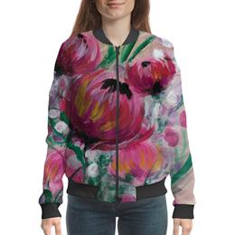 """Бомбер """"Полевые цветы"""" - лето, цветы, весна, розовый, подарок"""