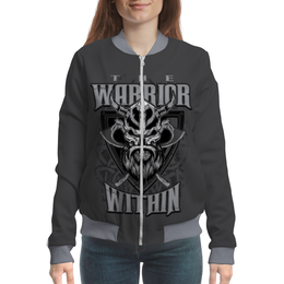 """Бомбер """"Воин внутри"""" - череп, воин, warrior, викинг, рога"""