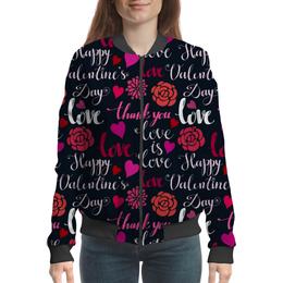 "Бомбер ""День Св. Валентина"" - любовь, сердца, валентинка, день св валентина"