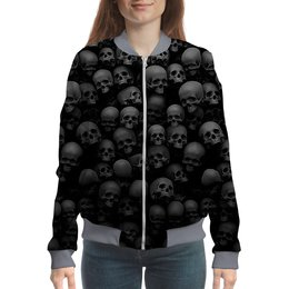 "Бомбер ""BlackSkull"" - skull, череп, скелет, абстракция, анатомия"