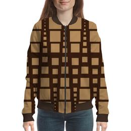 """Бомбер женский """"Геометрия"""" - фигура, треугольник, квадрат, геометрия, коричневый"""