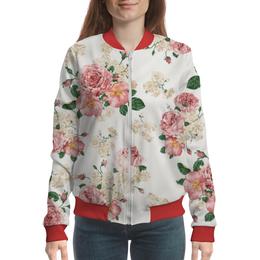 """Бомбер женский """"Цветочный фон"""" - лист, роза, букет, шиповник, бутон"""