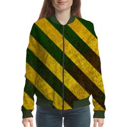 """Бомбер женский """"Полосы 6"""" - зелёный, жёлтый, полосы"""