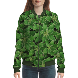 """Бомбер женский """"Зеленые листья"""" - растение, листья, зеленый, куст"""