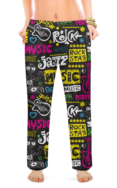 Женские пижамные штаны Printio Музыкальная ночь цена