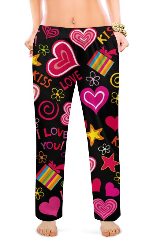 Женские пижамные штаны Printio Сердечки пижамные комплекты
