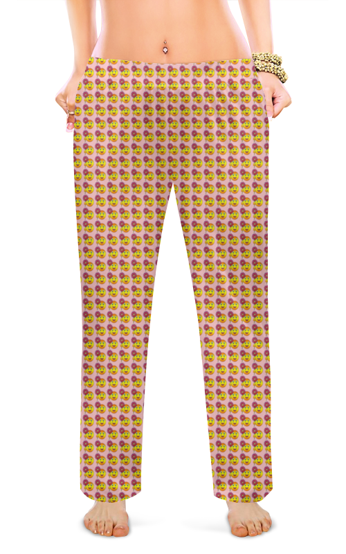 Женские пижамные штаны Printio Смайлы цена 2017