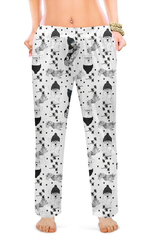 Женские пижамные штаны Printio Черное и белое