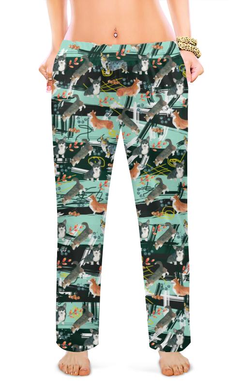 Женские пижамные штаны Printio Абстракция с корги