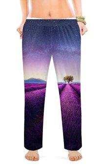"""Женские пижамные штаны """"Без названия"""" - космос, небо, природа, звёзды, лаванда"""