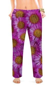 "Женские пижамные штаны ""Астры"" - цветы, фиолетовый, желтый, розовый, астры"