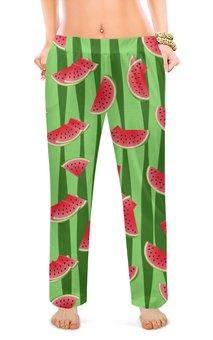 """Женские пижамные штаны """"Арбуз"""" - арбуз, полоски, семена, дольки"""