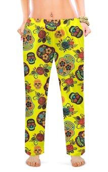 """Женские пижамные штаны """"ЧЕРЕП ФЭНТЕЗИ"""" - абстракция, цветочный узор, стиль эксклюзив креатив красота яркость, арт фэнтези"""