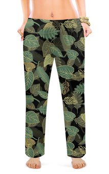 """Женские пижамные штаны """"ЛИСТОПАД"""" - листья, абстракция, стиль эксклюзив креатив красота яркость, арт фэнтези"""