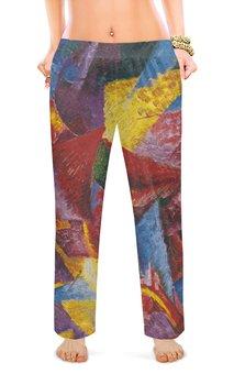 "Женские пижамные штаны ""Пластичные формы лошади (картина Умберто Боччони)"" - картина, живопись, футуризм, кубизм, боччони"