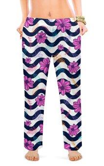 """Женские пижамные штаны """"ЦВЕТОЧНЫЙ СТИЛЬ"""" - абстракция, цветочный узор, стиль эксклюзив креатив красота яркость, арт фэнтези, волнистая линия"""