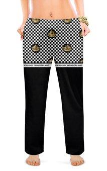 """Женские пижамные штаны """"Алиса в стране чудес паттерн  (1)"""" - корона, черно-белый, клетка, люкс, шахматка"""
